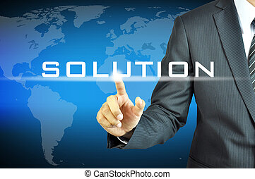 uomo affari, virtuale, soluzione, schermo, segno, toccante