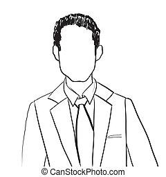 uomo, avatar, affari