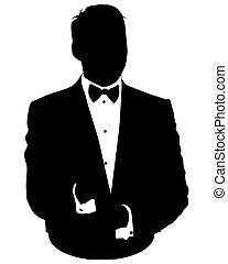 uomo, avatar, causa affari