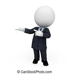 uomo, bianco, 3d, persone affari