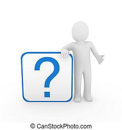 uomo blu, domanda, 3d, marchio