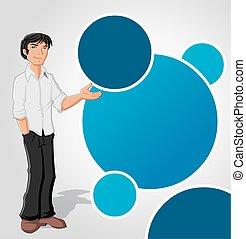 uomo blu, sagoma, cartone animato