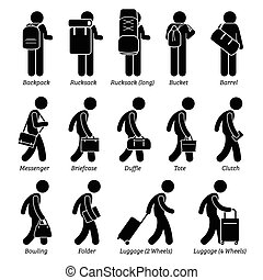 uomo, borse, bagaglio