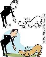 uomo, cane, rimprovero