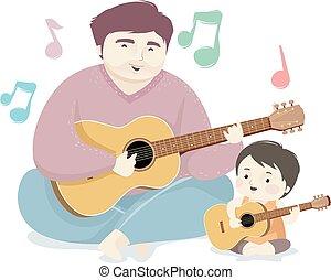 uomo, cantare, illustrazione, capretto, chitarra, babbo, ragazzo