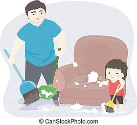 uomo, capretto, illustrazione, disordine, pulizia, ragazza, babbo