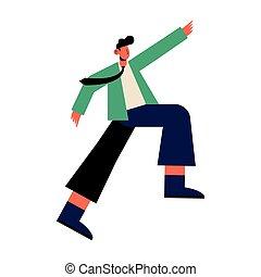 uomo, cartone animato, cravatta, vettore, disegno