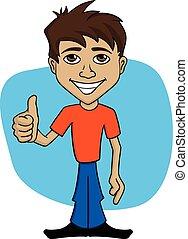 uomo, cartone animato, illustrazione, felice