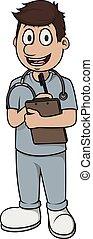 uomo, cartone animato, vettore, infermiera