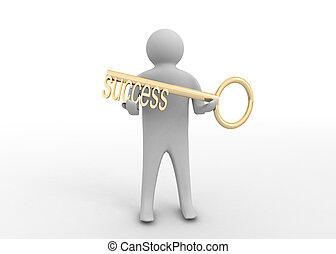 uomo, chiave, successo, 3d