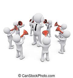 uomo, circondato, 3d, folla, megafoni