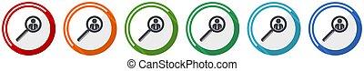 uomo, colori, illustrazione, lavoro, mobile, icona, persona, umano, 6, opzioni, disegno, set, appartamento, ricerca, domande, webdesign, vettore