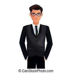 uomo, completo, affari, cravatta, occhiali