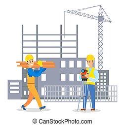 uomo, comunicare, costruttore, caposquadra, duro, costruzione, maschio, cappello, uniforme, costruzione