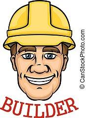 uomo, costruttore, sorridente, cappello, duro