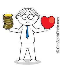 uomo, cuore, mano, soldi