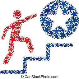 uomo, democratico, passi, americano, successo, collage, colori, vettore, stelle