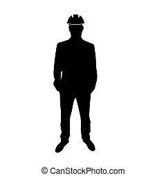 uomo, duro, ingegnere, hat., icona