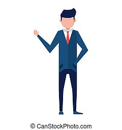 uomo, esecutivo, cartone animato, finanza affari