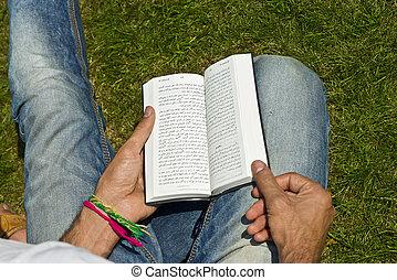 uomo, esterno, bibbia, lettura, giovane, ex-muslim