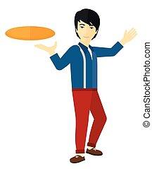 uomo, frisbee., gioco