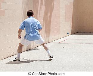 uomo, giochi, racquetball