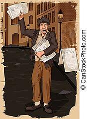 uomo, giornale, vendita, retro