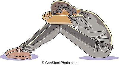 uomo, illustrazione, triste