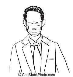 uomo, maschera, affari, avatar
