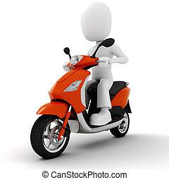 uomo, motocicletta, 3d