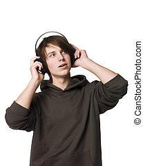 uomo, musica, ascoltare