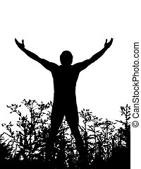 uomo, natura, standing, silhouette