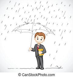 uomo, ombrello, affari, sotto