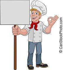 uomo, panettiere, presa a terra, cartone animato, segno, chef, cuoco