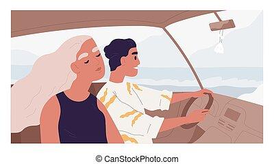 uomo, persone, donna, godere, lato, dentro, coppia, felice, strada, auto, amici, illustrazione, viaggiare, colorato, estate, vacation., mare, holiday., romantico, appartamento, guida, viaggio, vista, automobile., vettore