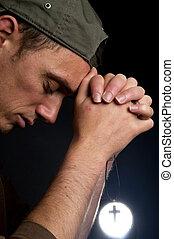 uomo, pregare, croce, presa a terra, -2
