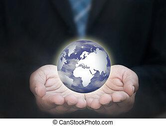 uomo, presa a terra, affari mondo