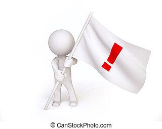 uomo, punto esclamativo, bandiera