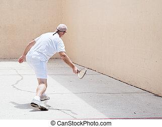 uomo, racquetball, corte, anziano