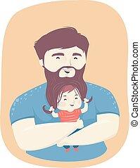 uomo, ragazzo, capretto, illustrazione, gioco, babbo, barba