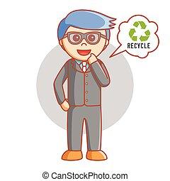 uomo, riciclare, pensi affari
