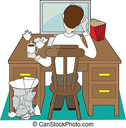 uomo, scrivania