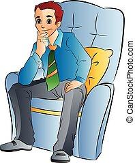 uomo, sedia, morbido, illustrazione, seduta