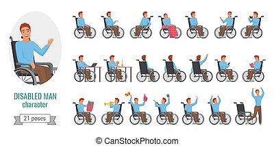 uomo, set, pose, invalido, incapacità, problema, salute
