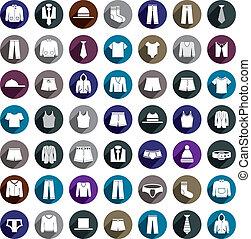 uomo, set., vettore, icona, vestiti