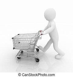 uomo, shopping, in crosta, carrello, 3d