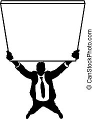 uomo, silhouette, affari, presa a terra, segno