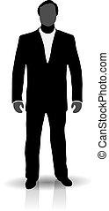 uomo, silhouette, completo