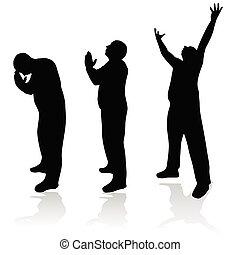 uomo, silhouette, preghiera