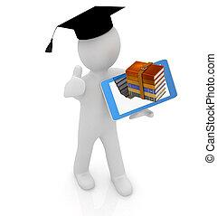 uomo, su, regalo, studente, grad, tavoletta, -, pc, fondo, bianco, 3d, cappello, meglio, pollice
